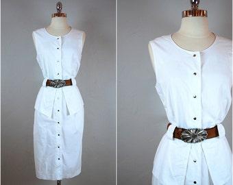 Vintage 80's cotton peplum dress / 80's shift dress