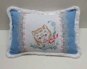Vintage Embroidered Kitten Pillow