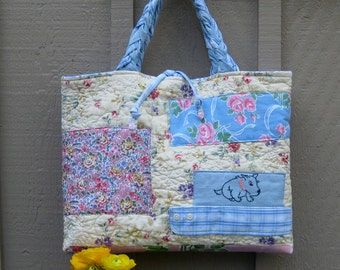 Patchwork Quilted Cotton Bag Tote Purse Medium