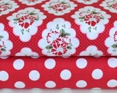 Riley Blake Designs - Wiltshire Daisy and Dots in Red by Carina Gardner C4332 and C4335
