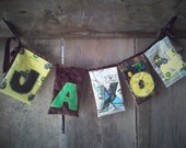 Happy Birthday Decoration Name Party Announcement Fabric Reusable Banner Tractors Farming