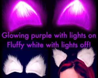 Clip On Cat Ears Glowing Purple Fluffy Light Up Cosplay GeekStar Accessory, EDC Gift LED Costume Hair Clip. My Little Pony Rave Wear