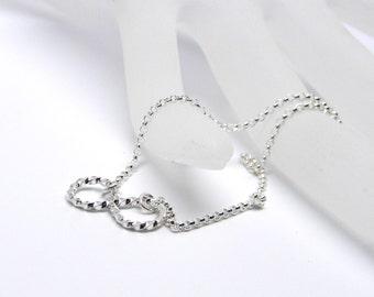Infinity Link Sterling Silver Symbolic Plus Sized Slave Bracelet