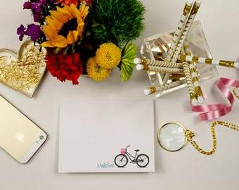 15 Personalized Stationery Beach Cruiser Bike with Basket, Personalized Stationary Bicycle, Custom Notes with bike