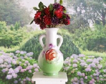 Red Purple Flower Display Green Vase 1:12 Dollhouse Miniature Artisan