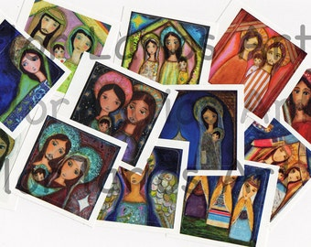 Nativities - Religious Art STICKERS (Set of 12 square glossy stickers) -    Folk  Art  by FLOR LARIOS
