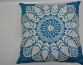 Exquisite handmade pillow with vintage doily detail