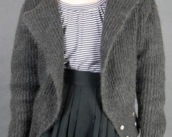 Vintage 80s Grey Mohair Cardigan Knit Sweater Deep V Jacket - S/M