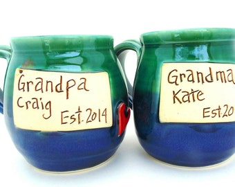 Pottery Mug, Set, Grandma and Grandpa, EST. 2014 blue and green by, Jewel Pottery
