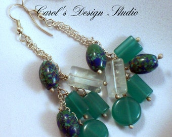 long beautiful earrings made of Lapis Lazuli, clear and green natural crystal.  These beautiful stones dance from sterling silver chains.