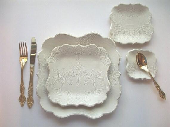 English Victorian Brocade Dinnerware Set