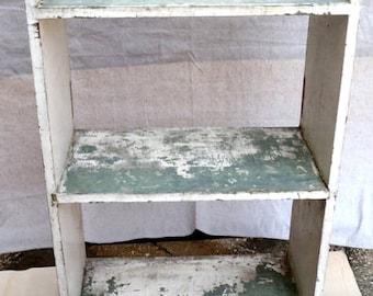 Vintage Primitive Farmhouse Open Three Shelf Cabinet