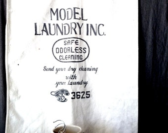 Antique 1900s Commercial Laundry Dry Cleaning Bag by Model Laundry Inc.
