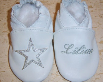 all leather baby shoes embroidered with  initial and heart - softsoul baby shoes - soft soled leather shoes