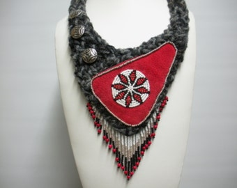 FREE SHIP The Restless Young Red, White, Silver, Black and Gray Knitted, fringed Southwestern necklace - BearlyArtDesigns