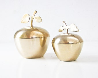 Brass Apples,  2 Vintage Apple Containers, Trinket Jewelry Box
