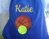 Sports Cinch Sack Back Pack Softball, Baseball, Basketball, Lacrosse, Hockey, Soccer Custom Embroidered Personalized Gift