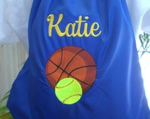Sports Cinch Sack Back Pack Softball, Baseball, Basketball, Lacrosse, Hockey, Soccer Custom Embroidered Personalized Gift