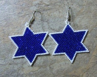Blue Star Earrings Hand Made Seed Beaded