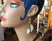 Pale gold faux leather Petal Earrings