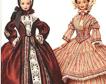 """Circa 1840 & 1850: 11 1/2"""" Fashion Doll Sewing Pattern Retro Clothes Vogue 7352 Shipping to US INCLUDED"""