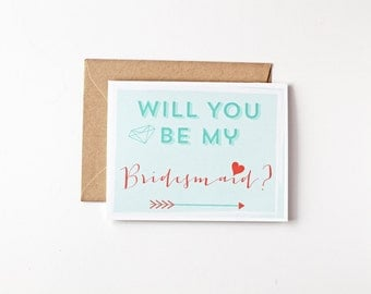 Will You Be My Bridesmaid Proposal Bridal Party Invites Arrow Card Eco Friendly Wedding Recycled Paper Greeting Cards Gift Wedding Party