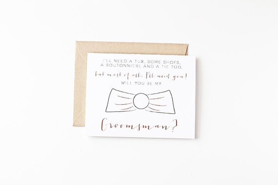 Will You Be My Groomsman Card Bridal Party Invites Groomsman Gift Eco Friendly Wedding Recycled Paper Greeting Cards Wedding Party Ask