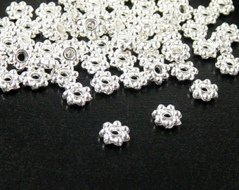 Bead Spacer 100 Shiny Silver Daisy Flower Snowflake Bright 6mm NF (1121spa06s1)xz