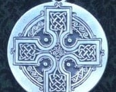 Large Round Celtic Knot Work Cross in an Engraved Design.