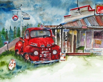 Patriot, Old truck and store, 5 x 7, print of watercolor