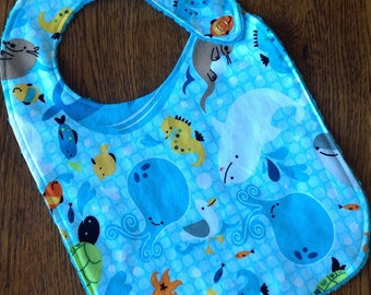Navy and White Whale Minky Baby/Toddler Bib - Last One