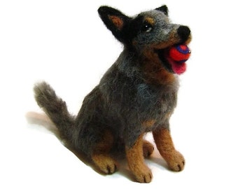 Custom needle felted Australian Cattle dog Soft Sculpture pet portrait
