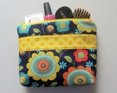 Large MAKE UP BAG Navy, Yellow, Aqua, Orange Flowers, Gusset Bottom, Zipper Pouch, Cosmetic Bag