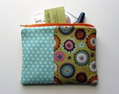 Medium Zipper Bag - Green and Aqua Mod Flowers and Dots, Make up Bag, Cosmetic Bag