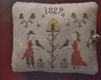 Completed Cross Stitch Primitive Sampler Pinkeep, Primitive Folk Art Pincushion, Cottage Farmhouse Decoration