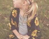 Sunflower Children's Kimono Cardigan // toddler flower Kimono  // baby floral Cardi