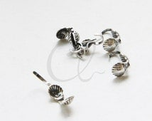 10pcs Oxidized Silver Plated Brass Base Clam Shell Bead Tip - 4mm (1846C-C-460)