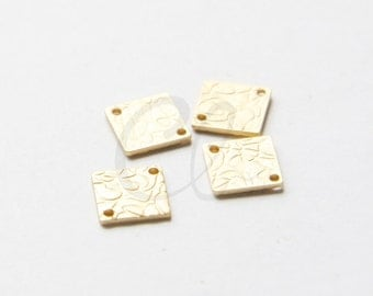 2pcs Premium Matte Gold Plated Brass Base Textured Links - Square 8mm (1757C-S-354)