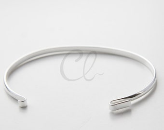 One Piece Silver Plated Cuff  Bezel Bracelet - Bangle 6 Inches (100200)