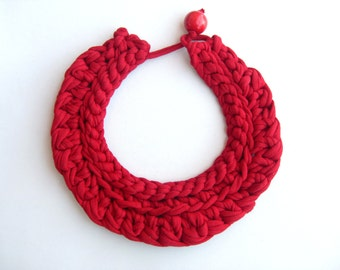 Red Crochet Cotton Necklace, Woven necklace, red choker, braided necklace, Knitted necklace, woman anniversary gift, girls gift, Red jewelry