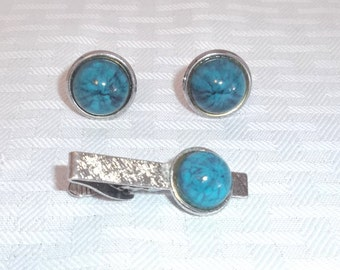 1960s Vintage Blue Simulated Stone Cuff Link and Tie Clip Set