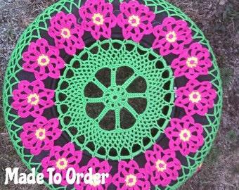 Flower Cartwheel Crochet Spare Tire Cover