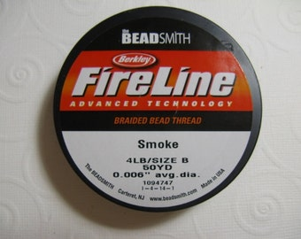 1 spool FireLine Braided Beading Thread, Smoke, Size B, 4LB Test, .006 In.  Diameter, 50 YD spool
