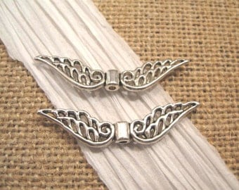 Pewter Antique Silver Angel Wing Charms- 2 Count