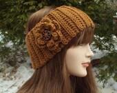 Chestnut Brown Ear Warmer, Crochet Headband with Flower, Head Wrap, Womens Ski Band, Chunky Earwarmer, Winter Headband, Gift for Her
