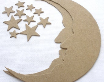 "Crescent Moons and Stars | Chipboard Moon Die Cuts | Bare Embellishments | 4 1/4"" Tall x 3 3/8"" Wide"