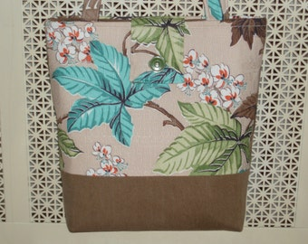 Vintage Mid Century Fabric Purse Handbag Shoulderbag Tote Large Tan Brown Blue Green Leaves Pattern Ginas Creations Original