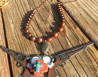 Cowgirl Old West! Necklace / Rustic Metal Six Shooters and Heart / Stone Cross / Freshwater Pearls / One of a Kind / Unique Handmade Jewelry