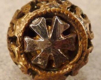 STEEL  BUTTON  Metal Victorian Steel accents round  Vintage  Pierced 3/8 inch diam