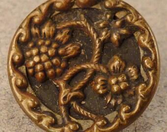 BRASS BUTTON  Metal Victorian Steel accents flower round  Vintage   5/8 inch diam